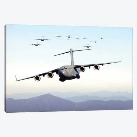 A Formation Of 17 C-17 Globemaster IIIs Fly Over The Blue Ridge Mountains Canvas Print #TRK555} by Stocktrek Images Canvas Wall Art