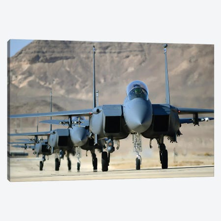 A Group Of F-15E Strike Eagles At Uvda Air Force Base, Israel Canvas Print #TRK556} by Stocktrek Images Canvas Artwork