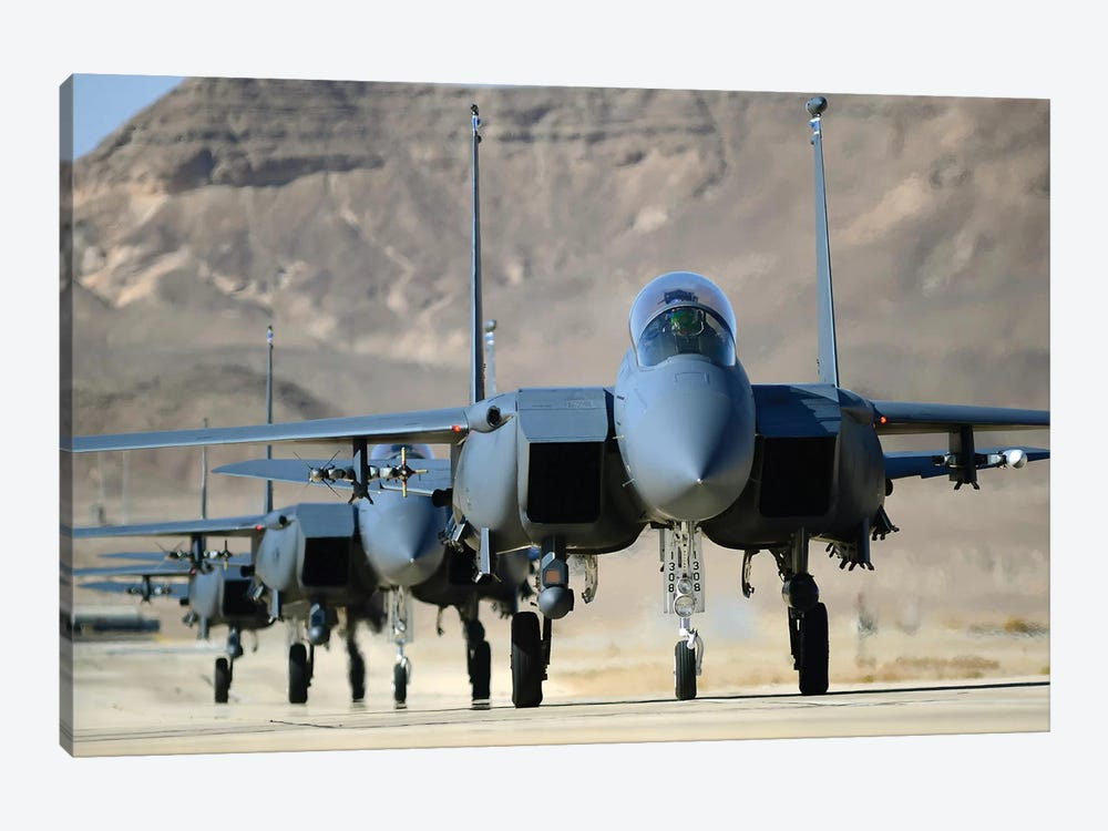A Group Of F-15E Strike Eagles At Uvda Air Force Base, Israel by Stocktrek Images 1-piece Canvas Wall Art