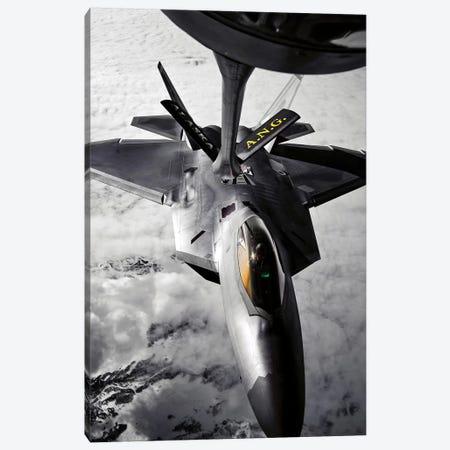 A KC-135 Stratotanker Refuels A F-22 Raptor Canvas Print #TRK559} by Stocktrek Images Canvas Print