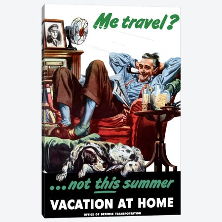 Vacation At Home Wartime Poster Canvas Print #TRK55} by John Parrot Canvas Art