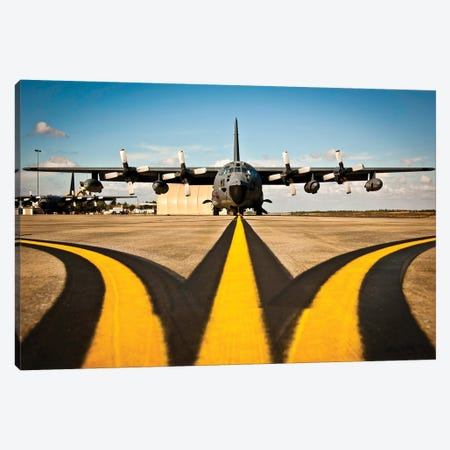 A MC-130E Combat Talon I Awaits Its Next Mission On The Flightline Canvas Print #TRK569} by Stocktrek Images Canvas Art