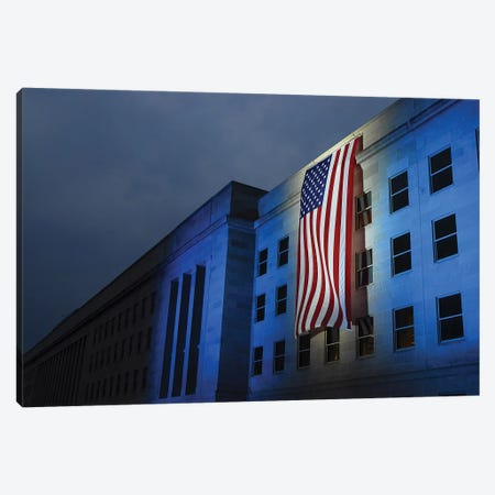 A Memorial Flag Is Illuminated On The Pentagon Canvas Print #TRK570} by Stocktrek Images Canvas Art Print