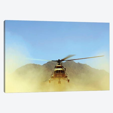 A Mi-17 Hip Helicopter Hovers Over A Firing Range In Afghanistan Canvas Print #TRK572} by Stocktrek Images Canvas Art Print