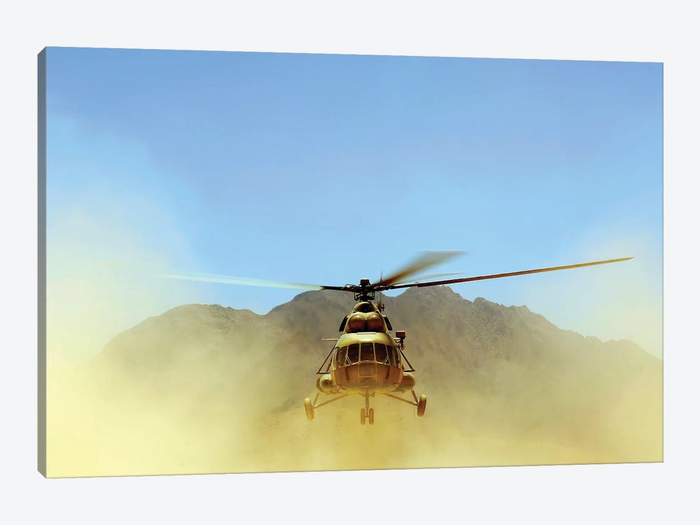 A Mi-17 Hip Helicopter Hovers Over A Firing Range In Afghanistan 1-piece Canvas Wall Art