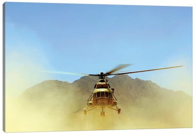 A Mi-17 Hip Helicopter Hovers Over A Firing Range In Afghanistan Canvas Art Print