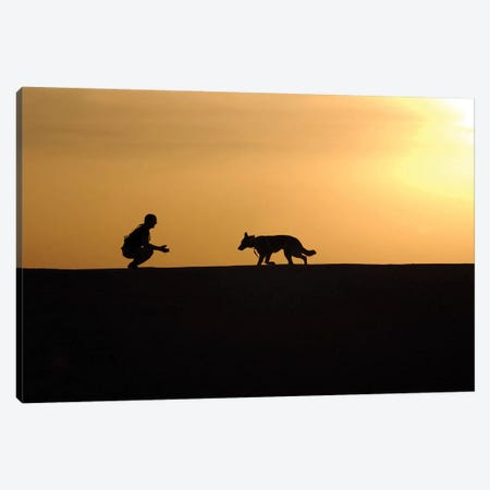 A Military Working Dog And His Handler Spend Time Together Canvas Print #TRK573} by Stocktrek Images Canvas Print