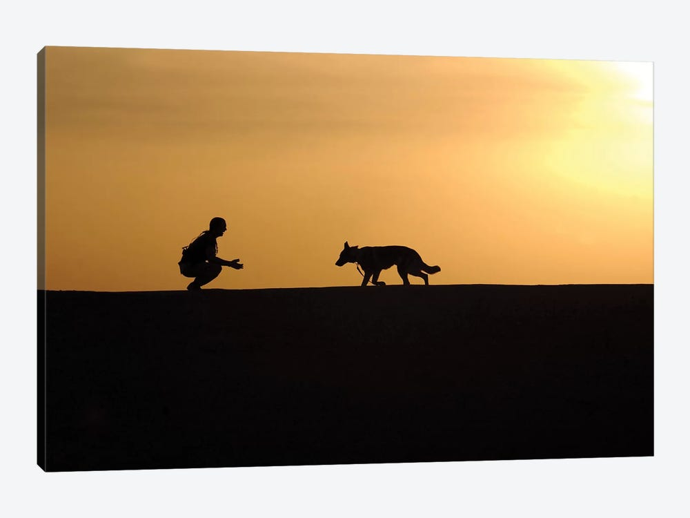 A Military Working Dog And His Handler Spend Time Together by Stocktrek Images 1-piece Canvas Art Print