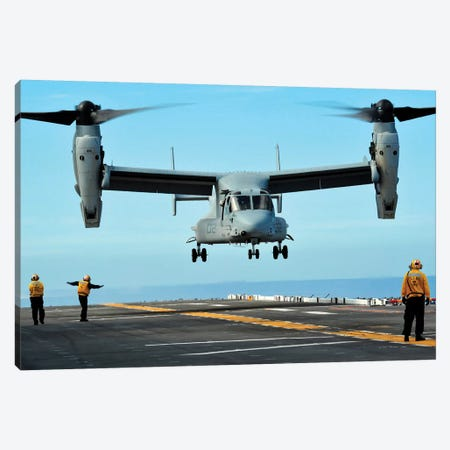A MV-22 Osprey Aircraft Prepares To Land On The Flight Deck Canvas Print #TRK576} by Stocktrek Images Canvas Artwork