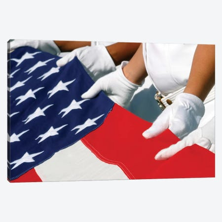 A Naval Station Pearl Harbor Ceremonial Guard Folds The National Ensign During A Burial Ceremony Canvas Print #TRK577} by Stocktrek Images Canvas Artwork