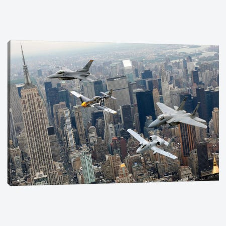 A P-51 Mustang, F-16 Fighting Falcon, F-15 Eagle, And A-10 Thunderbolt II Fly Over New York City Canvas Print #TRK579} by Stocktrek Images Canvas Art Print