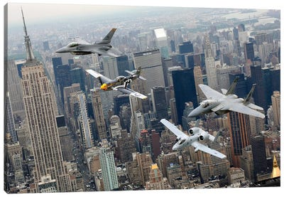 A P-51 Mustang, F-16 Fighting Falcon, F-15 Eagle, And A-10 Thunderbolt II Fly Over New York City Canvas Art Print