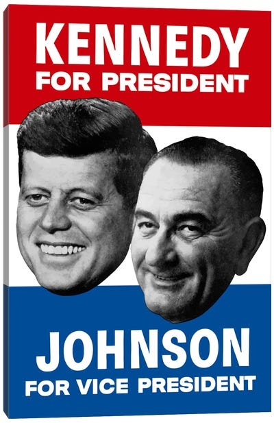 Vintage 1960 Democratic Nominees Election Poster Canvas Art Print