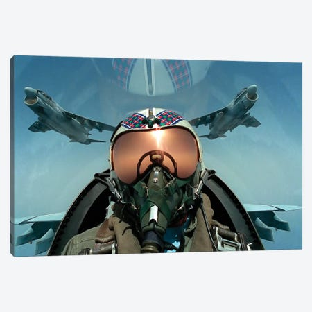 A Pilot Takes A Self Portrait From The Cockpit Of An A-7 Corsair II Aircraft Canvas Print #TRK583} by Stocktrek Images Canvas Wall Art