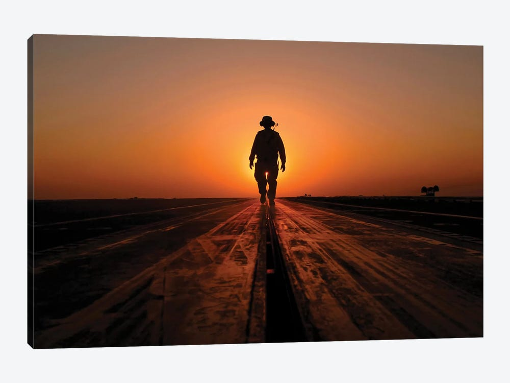 A Sailor Walks The Catapults On The Flight Deck Of USS Enterprise by Stocktrek Images 1-piece Canvas Artwork
