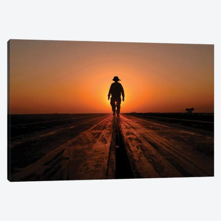A Sailor Walks The Catapults On The Flight Deck Of USS Enterprise Canvas Print #TRK587} by Stocktrek Images Canvas Print