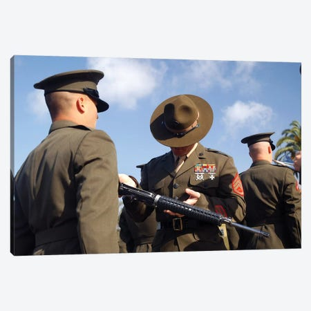 A Senior Drill Instructor Inspects A Recruit's Rifle For Cleanliness Canvas Print #TRK588} by Stocktrek Images Canvas Artwork