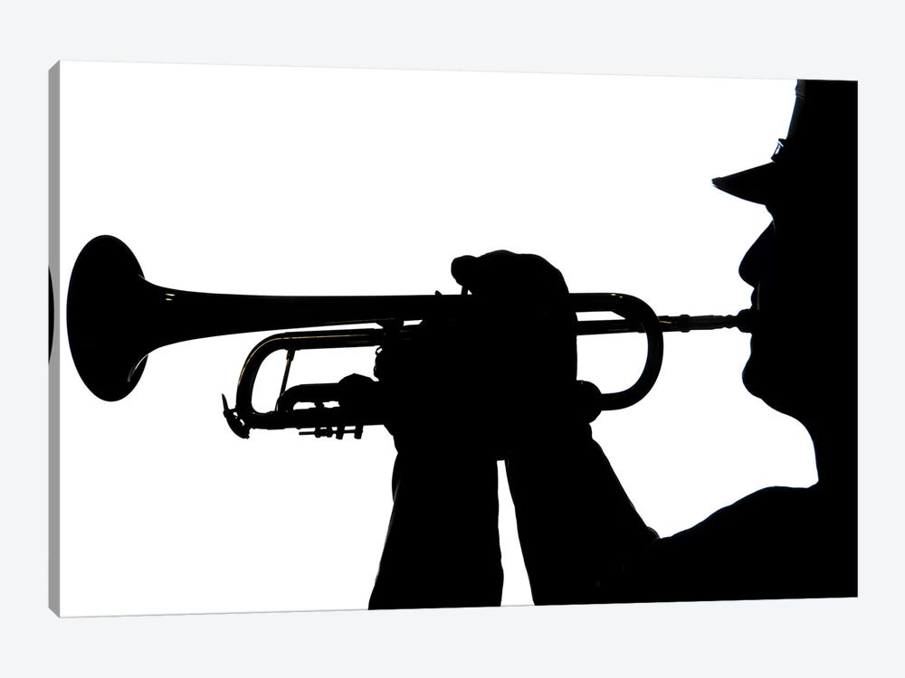 A Servicemember Plays A Tune During A Homecoming Ceremony by Stocktrek Images 1-piece Canvas Artwork
