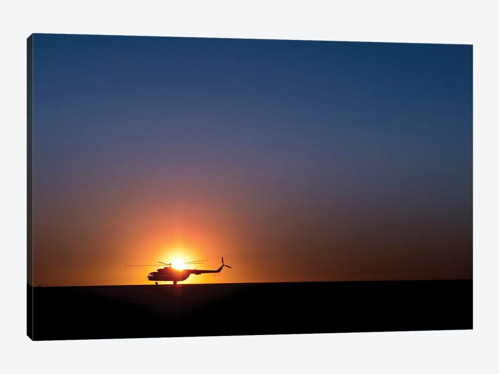A Sikorsky S-61L Mk II Helicopter Taxis On The Runway During Sunrise by Stocktrek Images 1-piece Canvas Wall Art