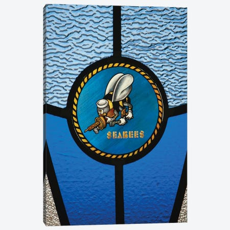 A Single Seabee Logo Built Into A Stained-Glass Window Canvas Print #TRK593} by Stocktrek Images Canvas Art Print