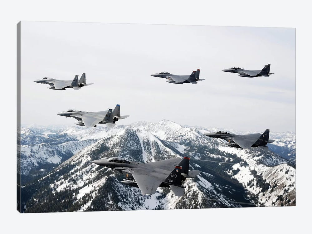 A Six-Ship Formation Of Aircraft Fly Over The Sawtooth Mountains In Idaho by Stocktrek Images 1-piece Canvas Wall Art