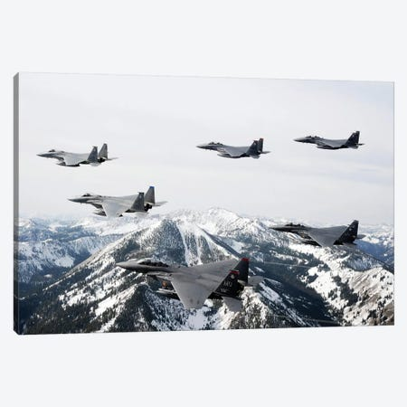 A Six-Ship Formation Of Aircraft Fly Over The Sawtooth Mountains In Idaho Canvas Print #TRK594} by Stocktrek Images Canvas Artwork
