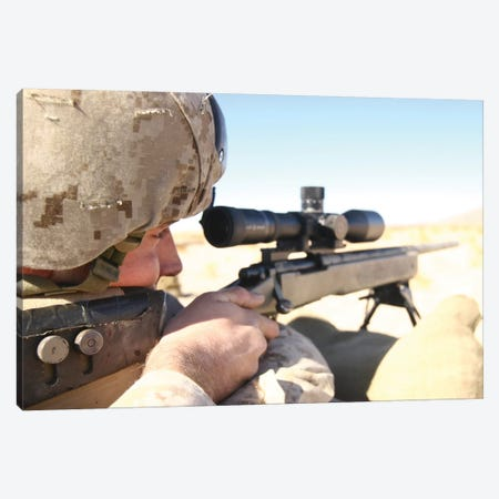 A Soldier Aims His M40A3 Scout Sniper Rifle Canvas Print #TRK597} by Stocktrek Images Canvas Art