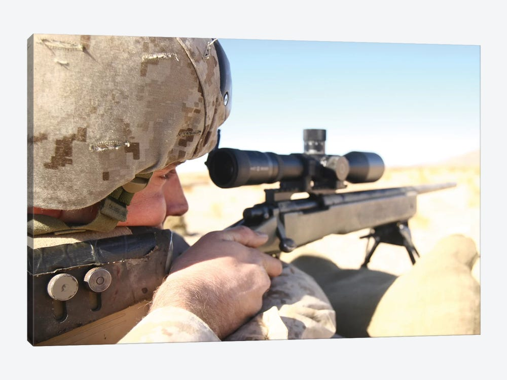 A Soldier Aims His M40A3 Scout Sniper Rifle 1-piece Art Print