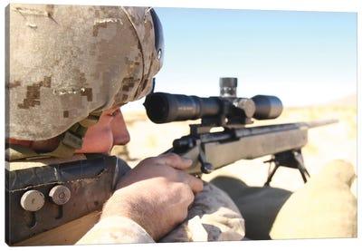 A Soldier Aims His M40A3 Scout Sniper Rifle Canvas Art Print