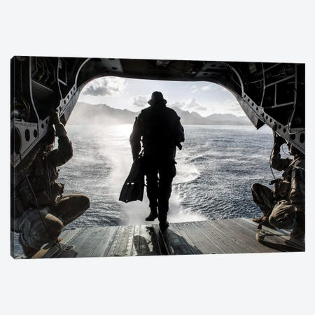 A Soldier Conducts A Combat Dive Mission Off The Back Of A CH-47 Chinook Canvas Print #TRK598} by Stocktrek Images Canvas Print