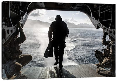 A Soldier Conducts A Combat Dive Mission Off The Back Of A CH-47 Chinook Canvas Art Print