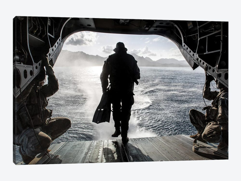 A Soldier Conducts A Combat Dive Mission Off The Back Of A CH-47 Chinook by Stocktrek Images 1-piece Canvas Wall Art