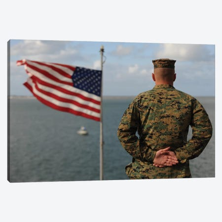 A Soldier Stands At Attention On USS Bonhomme Richard Canvas Print #TRK599} by Stocktrek Images Canvas Print