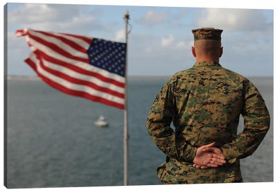 A Soldier Stands At Attention On USS Bonhomme Richard Canvas Art Print