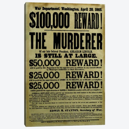 Vintage Civil War Wanted Poster Canvas Print #TRK59} by John Parrot Art Print
