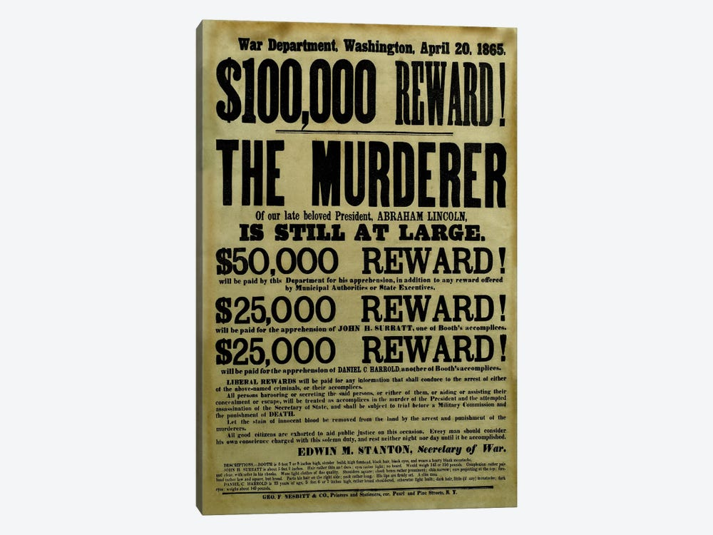 Vintage Civil War Wanted Poster 1-piece Art Print