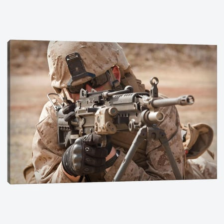 A Squad Automatic Weapon Gunner Provides Security Canvas Print #TRK601} by Stocktrek Images Art Print