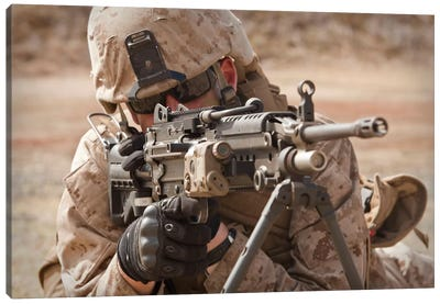 A Squad Automatic Weapon Gunner Provides Security Canvas Art Print