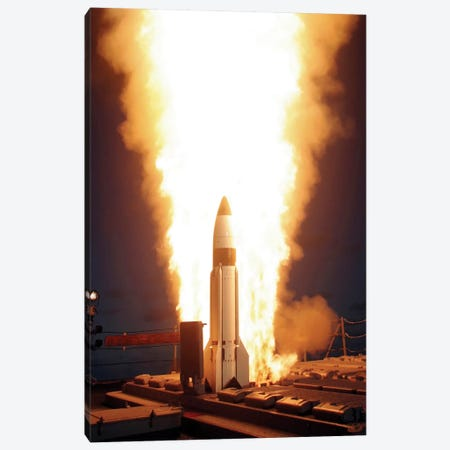 A Standard Missile 3 Is Launched From The Vertical Launch System Aboard USS Lake Erie Canvas Print #TRK605} by Stocktrek Images Canvas Art
