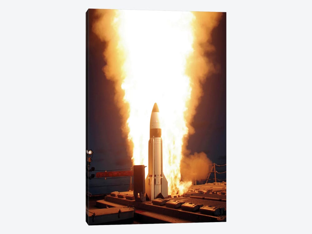 A Standard Missile 3 Is Launched From The Vertical Launch System Aboard USS Lake Erie by Stocktrek Images 1-piece Canvas Artwork