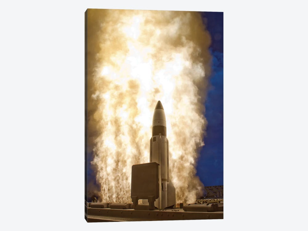 A Standard Missile-3 Is Launched From USS Lake Erie by Stocktrek Images 1-piece Canvas Artwork