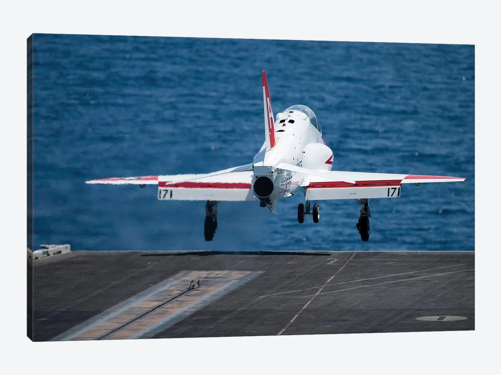 A T-45C Goshawk Launches From The Flight Deck Of USS Harry S. Truman by Stocktrek Images 1-piece Canvas Print