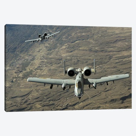 A Two-Ship A-10 Thunderbolt II Formation Flies A Combat Mission Over Afghanistan Canvas Print #TRK611} by Stocktrek Images Canvas Artwork