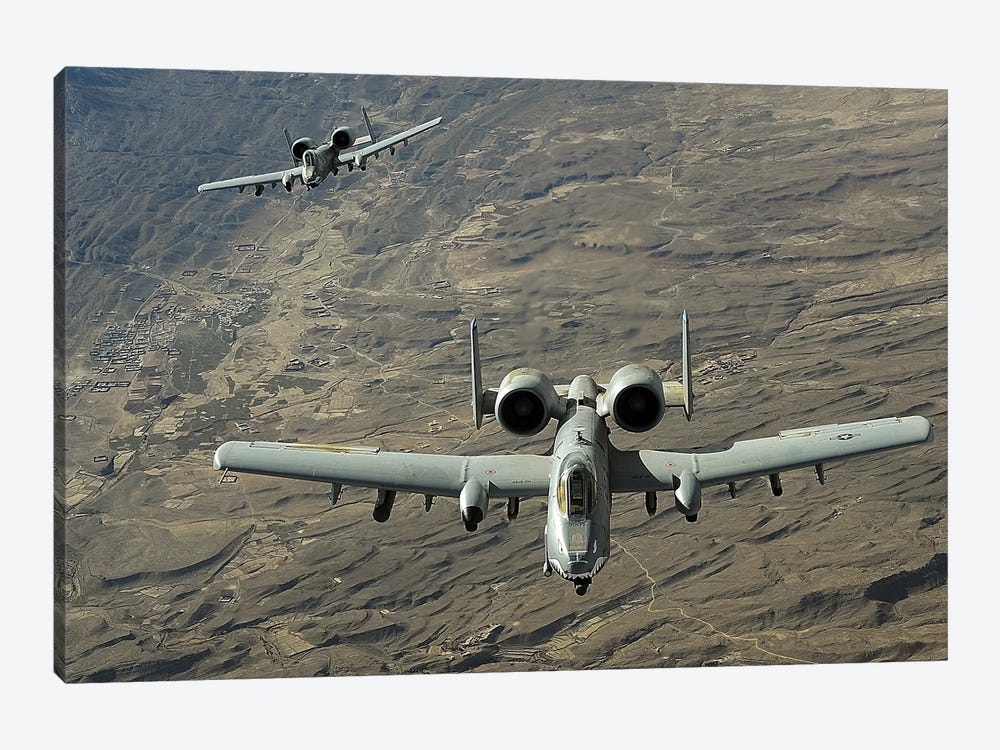 A Two-Ship A-10 Thunderbolt II Formation Flies A Combat Mission Over Afghanistan 1-piece Art Print