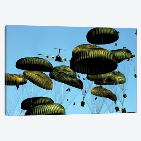 A US Air Force C-17 Globemaster III Airdrops Pallets To Port-Au-Prince, Haiti Canvas Print #TRK617} by Stocktrek Images Canvas Art Print