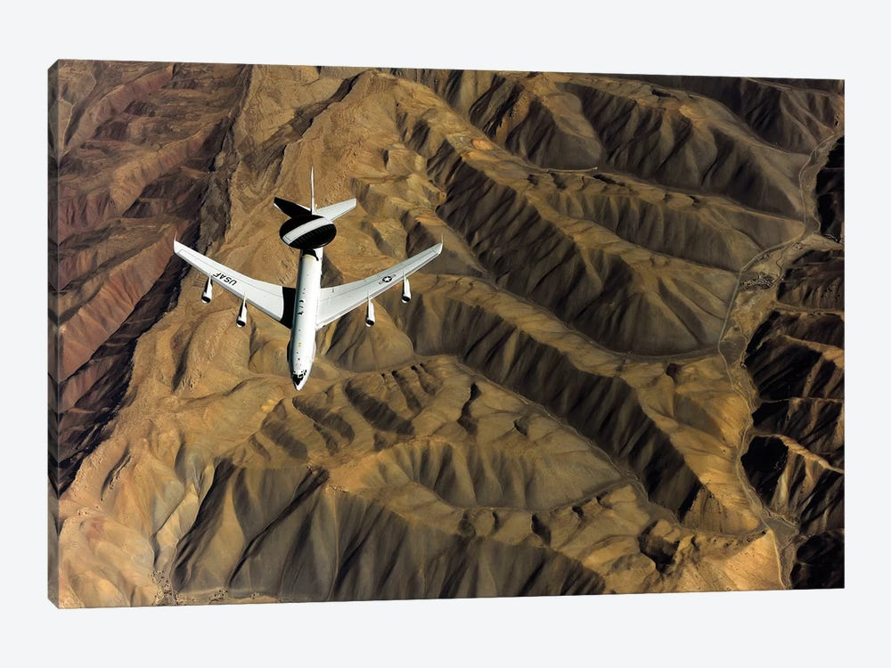 A US Air Force E-3 Sentry Aircraft Over Afghanistan by Stocktrek Images 1-piece Canvas Artwork