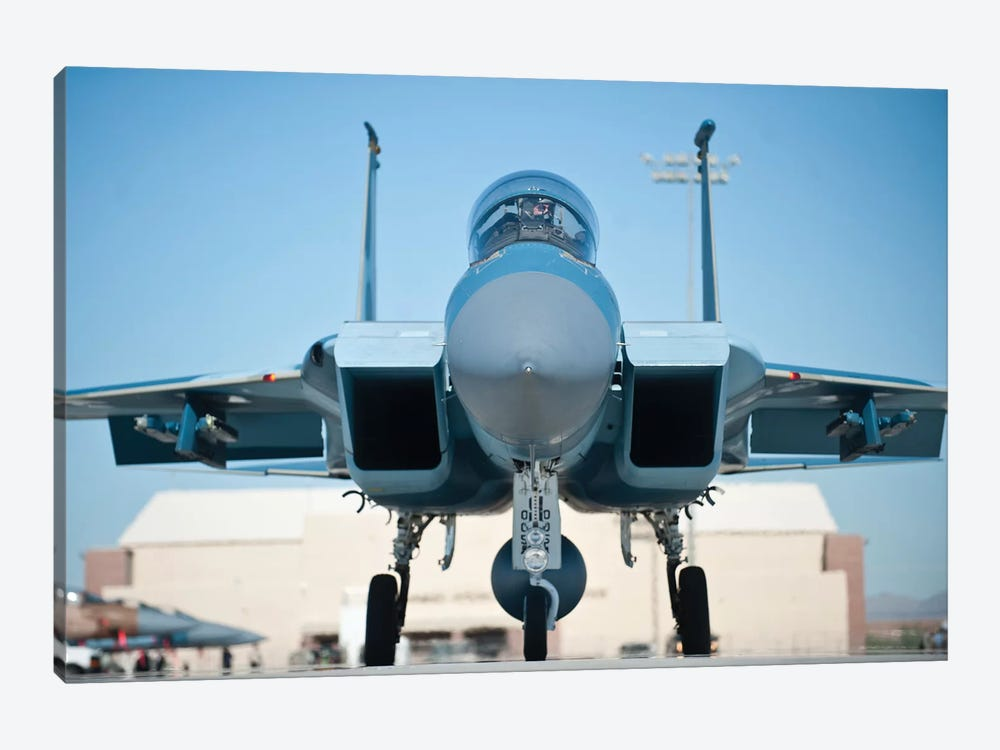 A US Air Force F-15D Eagle Taxis To The Runway by Stocktrek Images 1-piece Canvas Art Print