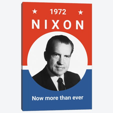 Vintage Print Of President Richard Nixon Canvas Print #TRK61} by John Parrot Canvas Art