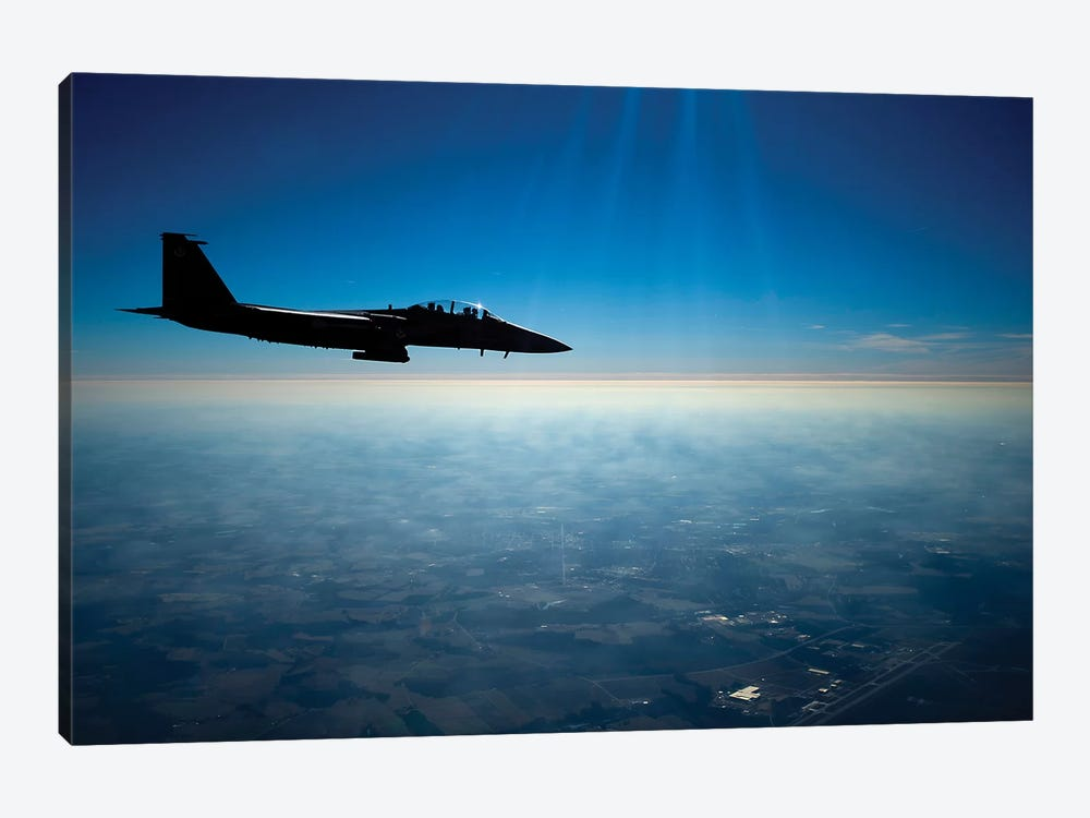 A US Air Force F-15E Strike Eagle In Flight Over North Carolina by Stocktrek Images 1-piece Art Print