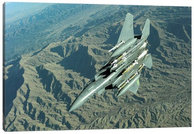 A US Air Force F-15E Strike Eagle On A Combat Patrol Over Afghanistan Canvas Art Print